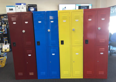 Colourful locker room cupboards