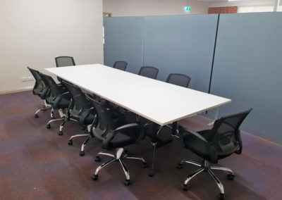 Rapidline Typhoon Boardroom Table, Rapidline Acoustic Screens, Sylex Trice Office Chairs