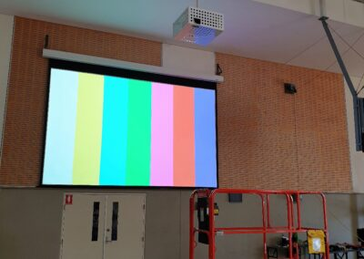 School Hall Projector System EB-G7500UNL with Gilkon Projector Security Cage and 200 inch Elite Screen Motorised projection screen