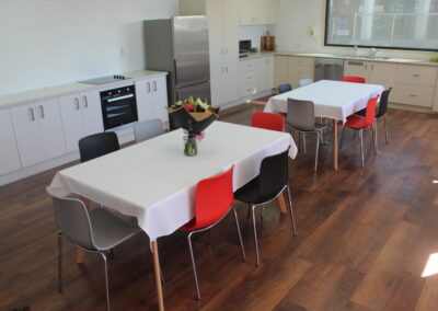 Dal Acti rectangle table, Dal acti 4 leg chrome chairs in red, black, light grey.