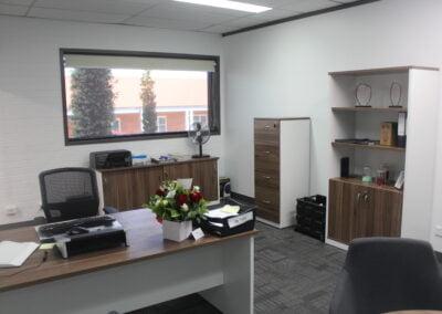 OM premier desk, OM premier sliding door credenza, Om half door lockable cupboard, OM 4 drawer filing cabinet all in Casnan/white colou
